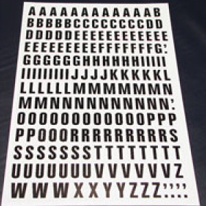 Sheet of Magnetic Letters 23mm Black on White