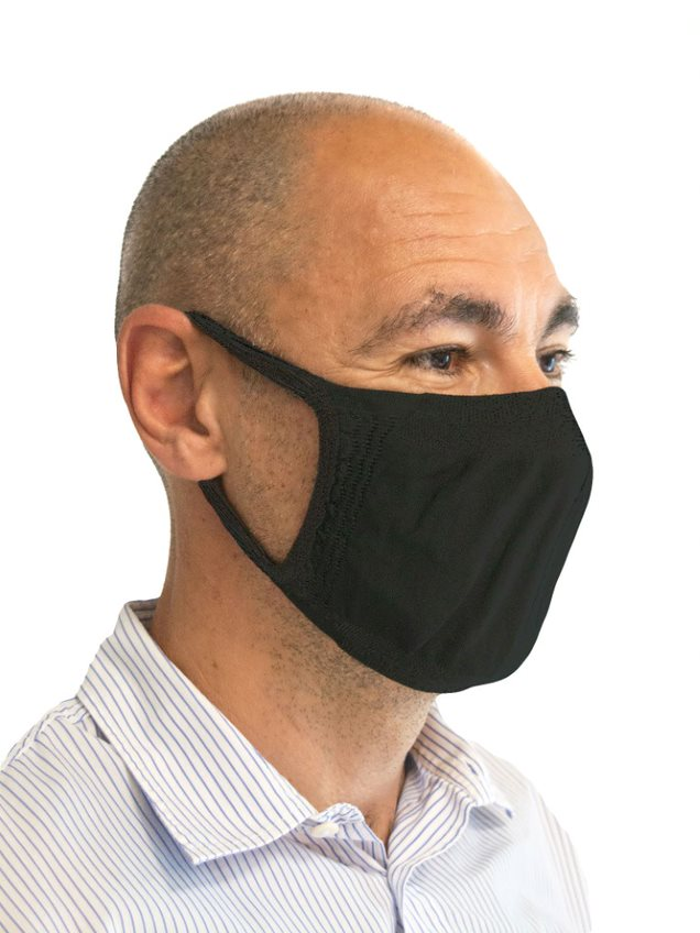 FMI Washable Reusable Face Mask / Covering Adult BLACK Antibacterial