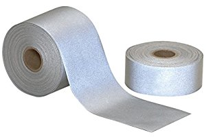 Iron On Fabric Reflective Hi Visibility Silver Tape 50mm x 10 metres