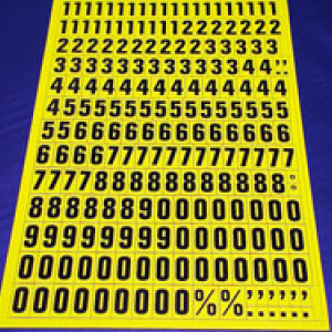 Sheet of Magnetic Numbers 23mm Black on Yellow