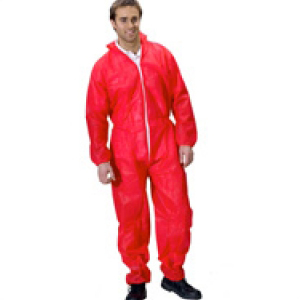 Polypropylene Disposable Suits Coveralls Red Large