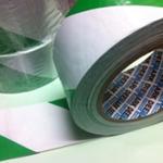 PVC Hazard Warning Tape Adhesive Green & White 50mm x 33m