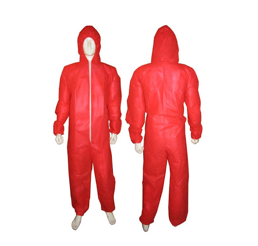 Polypropylene Disposable Suits Coveralls Red Medium